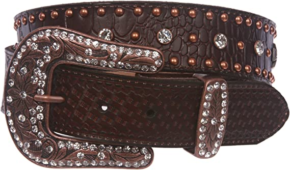 Snap On Western Crocodile Print Cross Rhinestone Studded Leather Belt