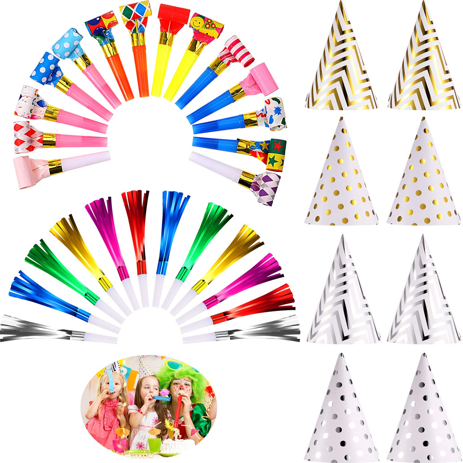 80 Pieces Colorful Party Blower Musical Blowouts Whistles Metallic Noisemaker Blowouts and 8 Pieces Birthday Party Cone Hats Foil Cone Hats for Kids