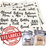 Talented Kitchen 155 Pantry Labels & Fridge – 155 Cursive Labels, Supplementary Ingredients – Food Jar Stickers Decal. Water Resistant Pantry Organization Storage (Set of 155– Non Main Cursive Pantry)