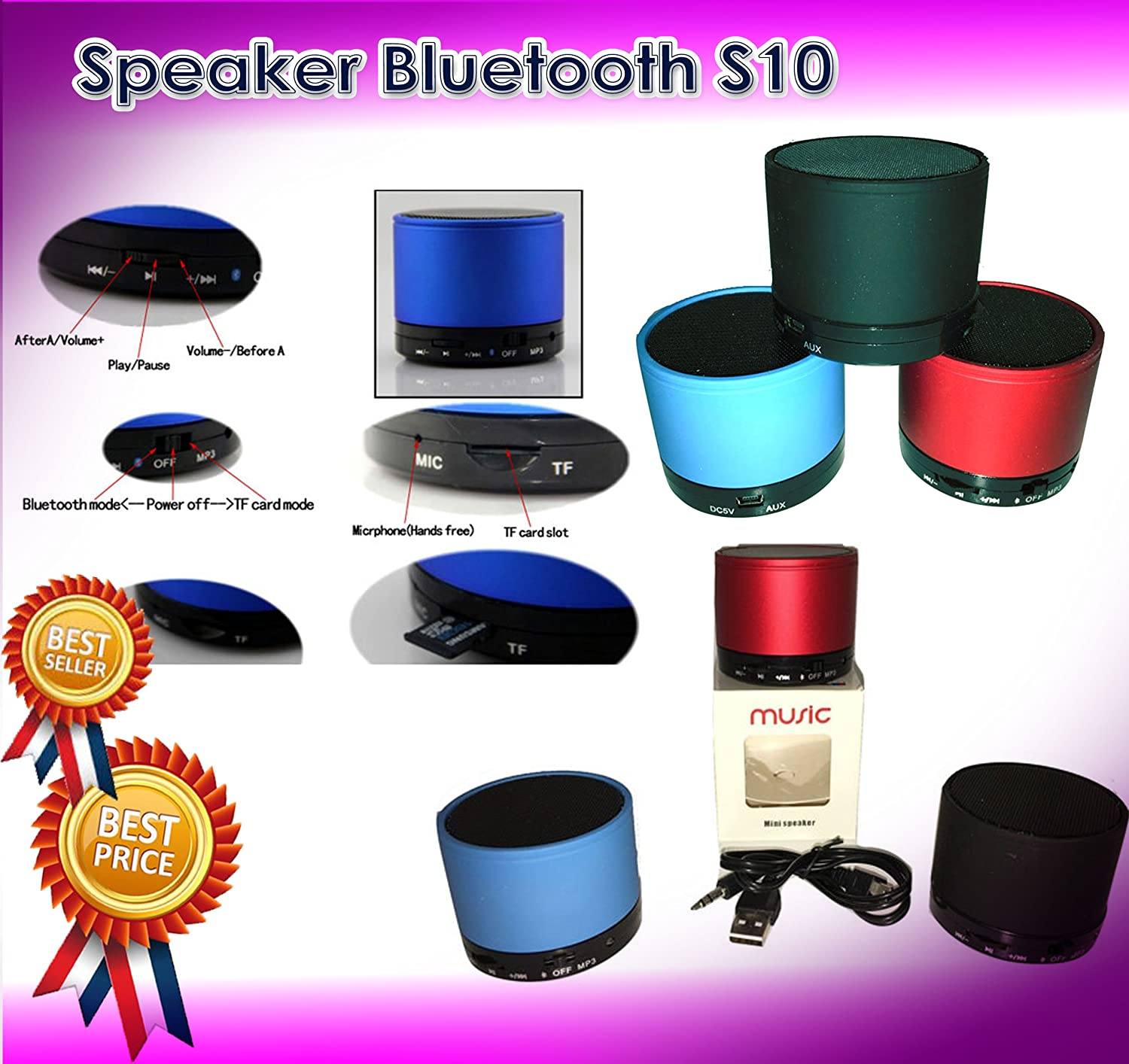 Captcha S10 Mini Bluetooth Rechargeable Stereo Speaker Electronics