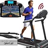 Tapis de course Sportstech F10 avec app de contrôle via smartphone, ceinture d'impulsion de valeur de 39,90 € inclue, Bluetooth, 1HP, 10KM/H, 13 programmes de marche et de course- pliable