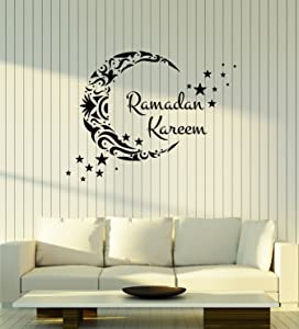 Ramadan Kareem Vinyl Wall Decal Lettering Crescent Stars Islamic Art Stickers Mural Large Decor (ig5501)
