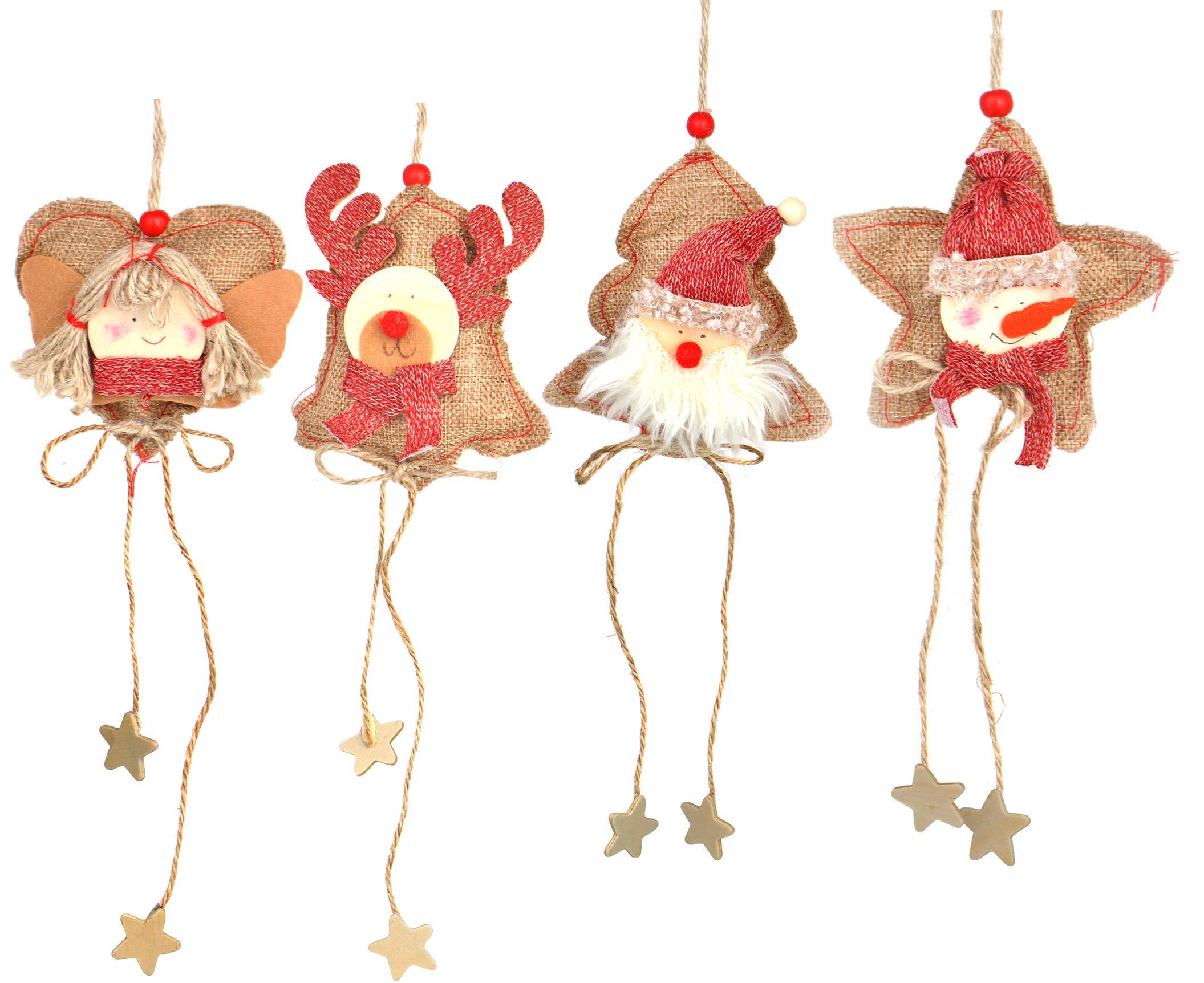 ZAloha Heart Star Ornaments Party Decorations 8pcs Rustic Burlap Moose/Snowman/Santa Claus/Bell