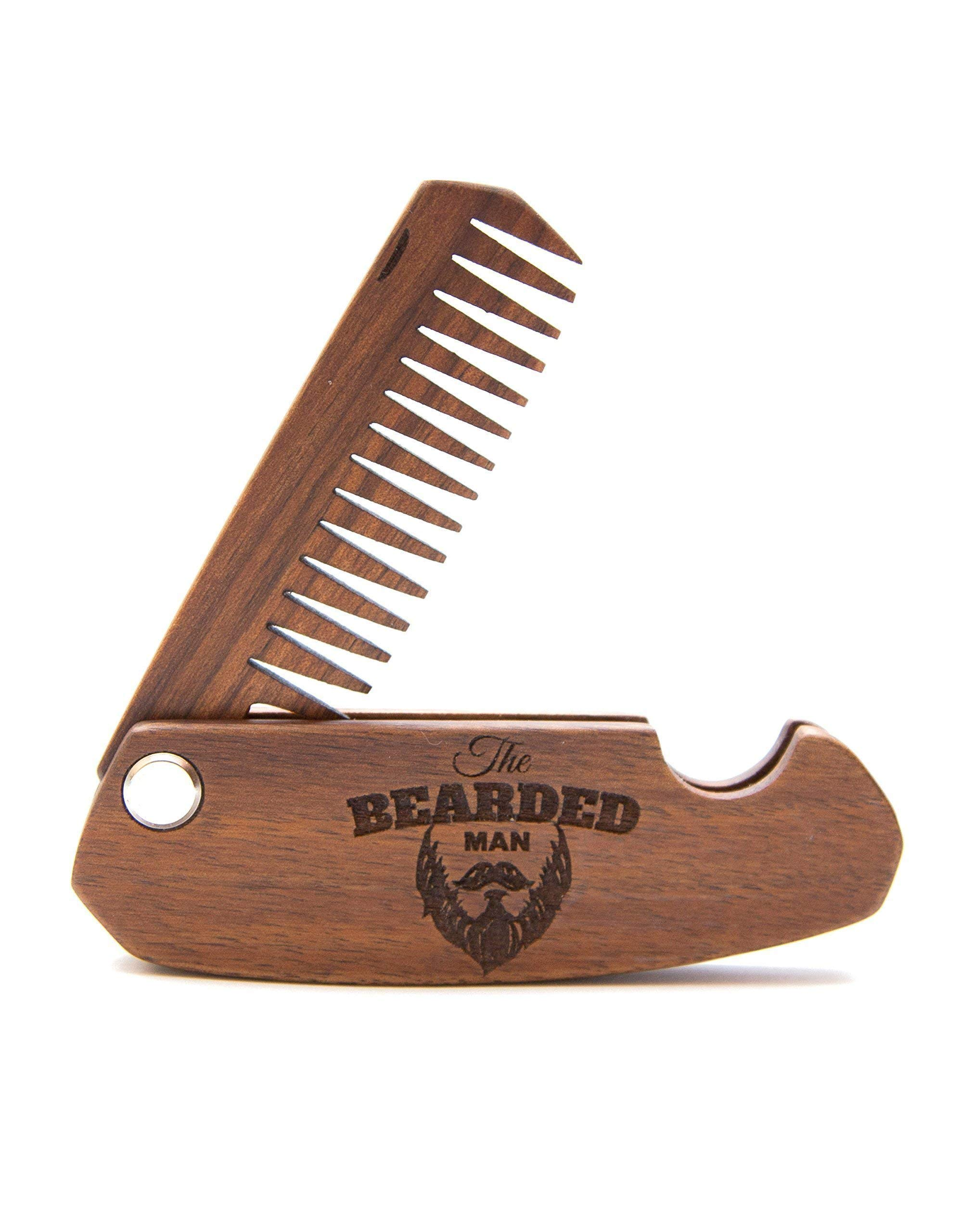 For Beard Folding Comb for Hair Mustache Engraved Covered With Oil-wax Bearded Man Gift Idea Weeding