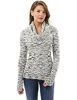 PattyBoutik Damen Rundhalsausschnitt Pullover mit Infinity Schalkragen und langen Ärmeln