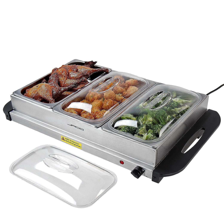 Calentador de comida en 4 variantes, con temperatura regulable y de 200 W, Servidor para buffet con calentaplatos, para recipientes diferentes - 2 x 1,5 l Jago