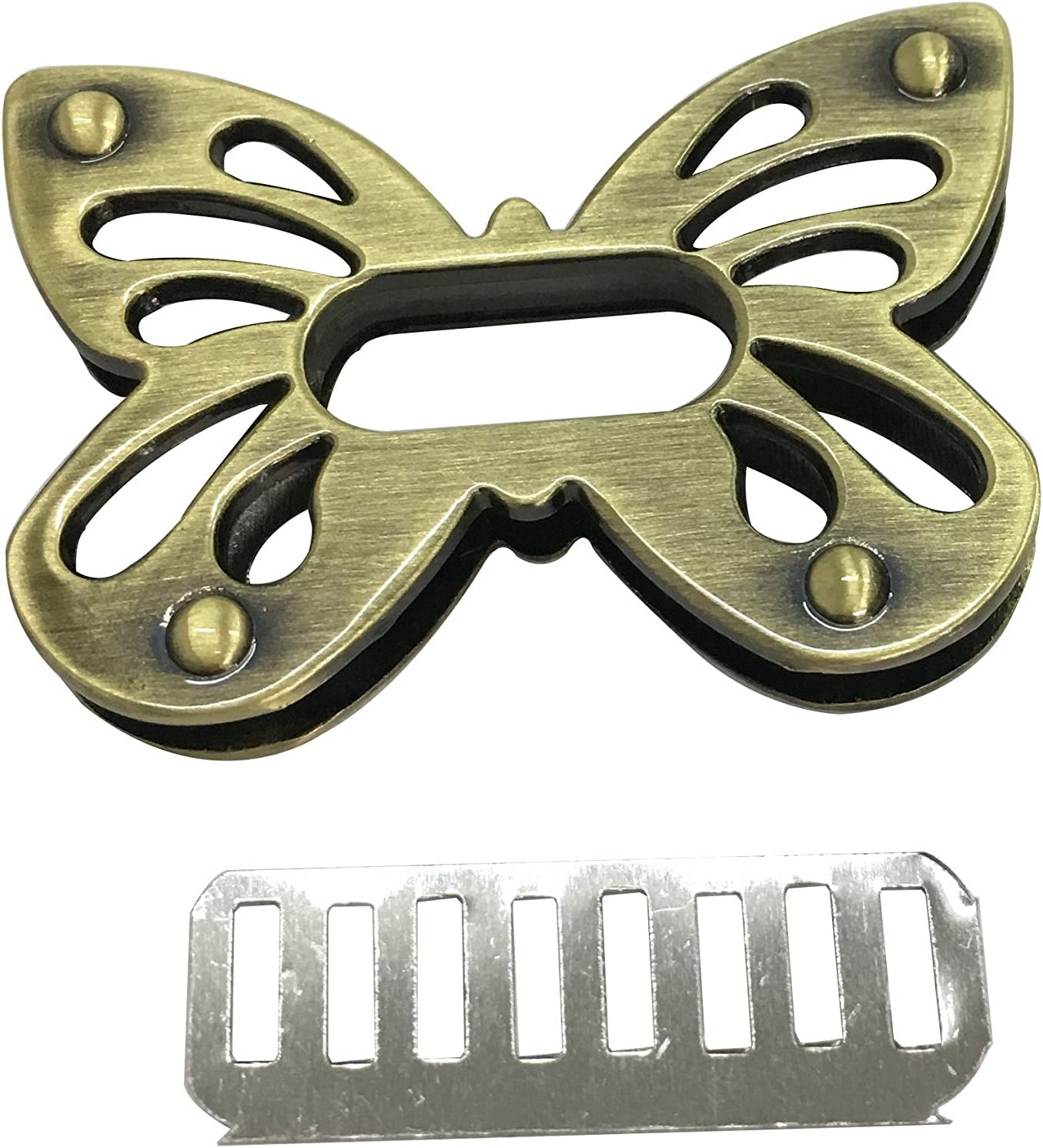 Fashewelry 6 Sets Metal Purse Turn Lock Clutches Closures Light Gold Bees Bird Cat Butterfly Oval Heart Bag Twist Lock Fastener Clasp Hardware for DIY Handbag Leather Craft Making Accessory