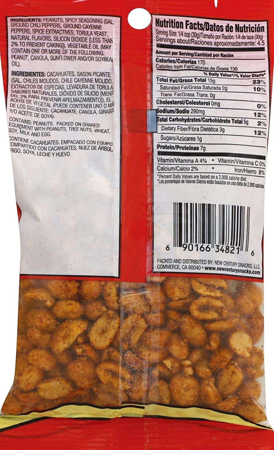 Amazon.com : Muncheros Hot & Spicy Peanuts, 5-Ounces, 12-Pack : Grocery & Gourmet Food
