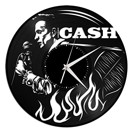 VinylShopUS – Johnny Cash Vinyl Wall Clock Music Bands and Musicians Themed Unique Gift