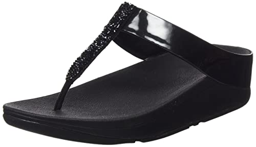 0f03fa92d1c6 Fit Flop Women s Fino Toe-Post Black Leather Fashion Sandals - 3 UK India