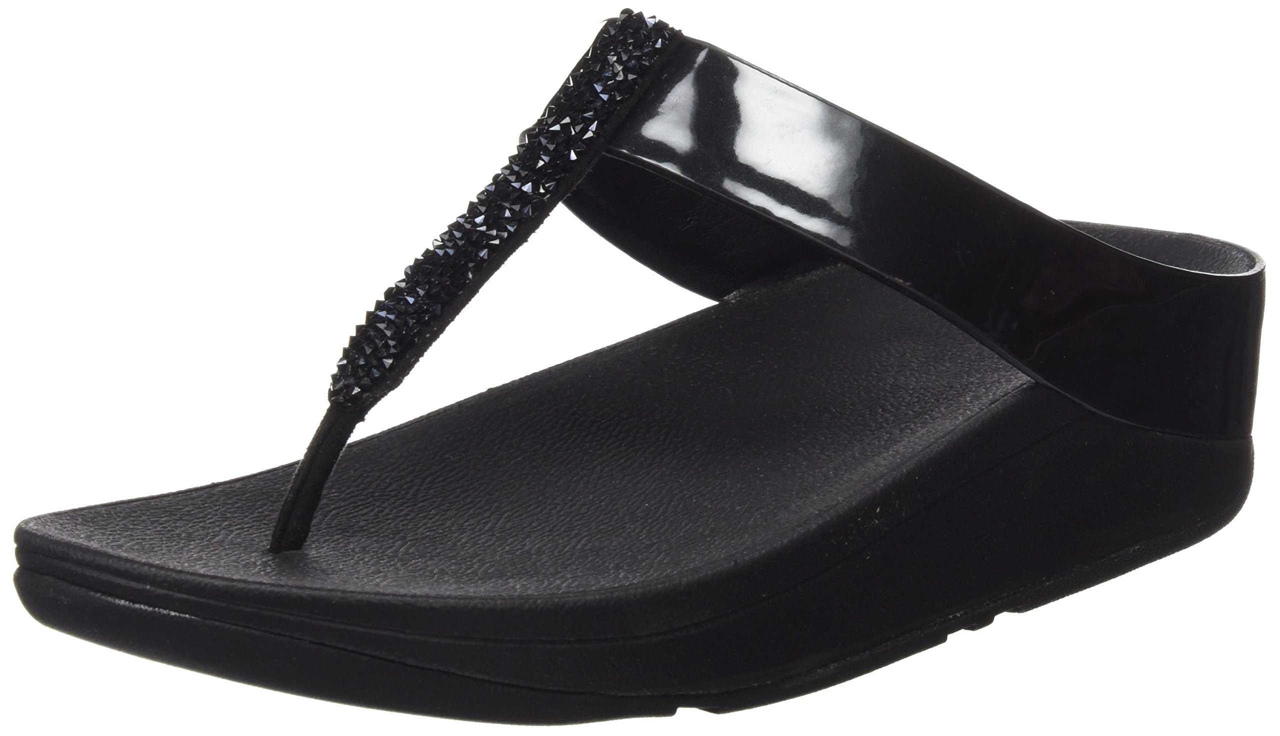 FitFlop Womens Fino Soft Metallic Toe-Thong Black Sandal - 8