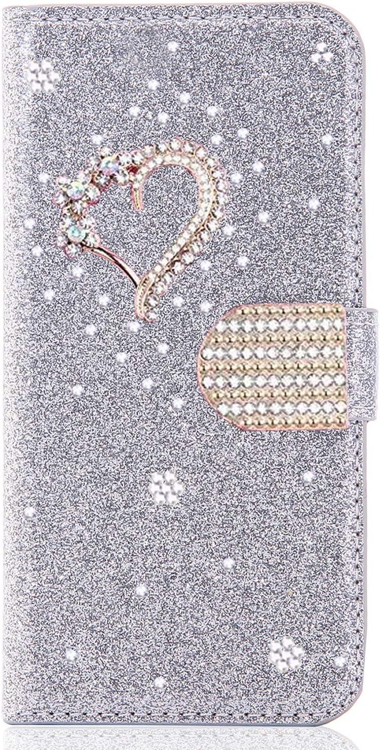 Miagon f/ür Huawei Y7 2019 Glitzer Brieftasche H/ülle,3D Diamant PU Leder Case Kartenslots St/änder Strass Wallet Flip Cover,Engel Gold