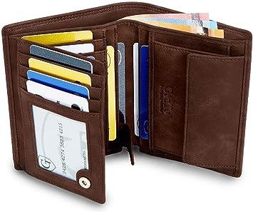 e183aebf6c0e4 GenTo® Herren Geldbörse Dublin - TÜV geprüfter RFID NFC Schutz - Geräumiger  Geldbeutel im Hochformat