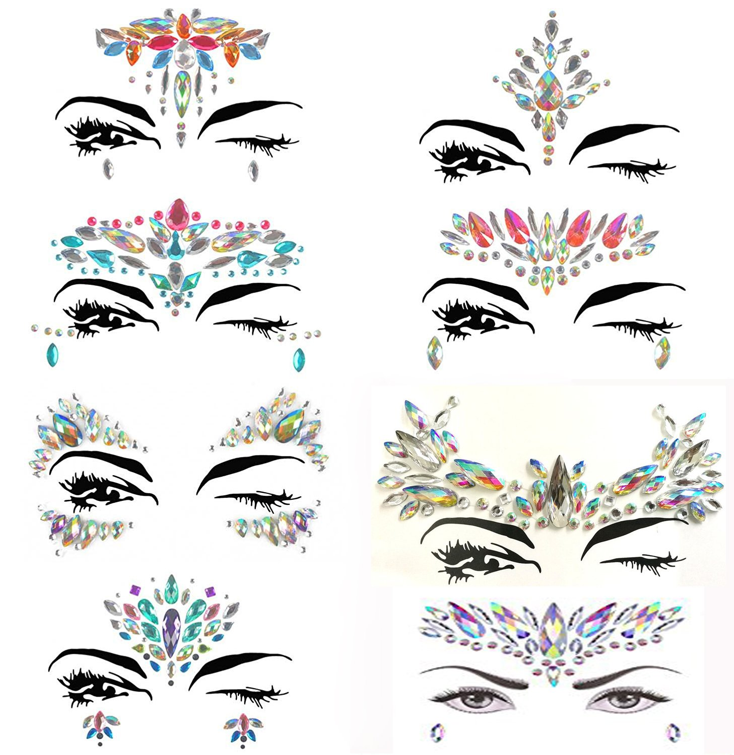 8 Packs Festival Face Jewels Rhinestones Gems Face Crystals Tattoo Jewelry for Forehead Body Decorations Party Supplies, Makeup Rhinestone Face Jewels Stickers, Women Mermaid Face Gems Glitter