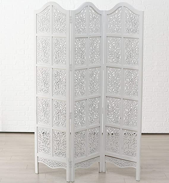 Edler Paravent Olivia Mangoholz 188 x 137cm Holz Weiß Raumteiler Weiss Neu