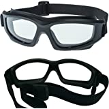 "Clear Motorcycle Riding Goggles: Heavy-Duty Riding Goggles""No Foam"" Design w/Hard Case, Microfiber Cleaning Cloth & Pouch Included. (Clear Lens)"