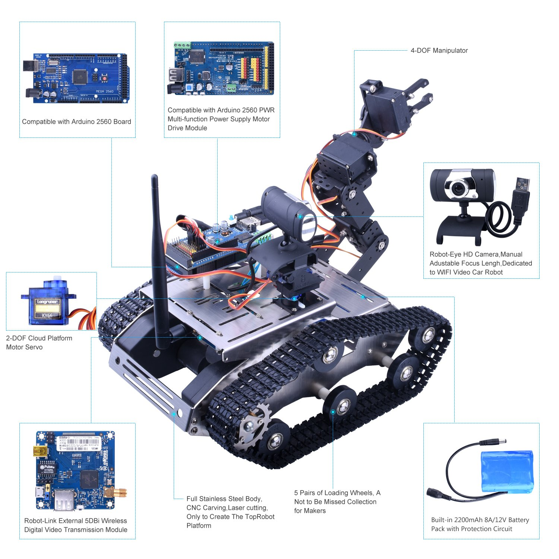 Longruner Kit de Robot de Coche WiFi con Mega2560 / Cámara HD, Robot Inteligente con Tutoral de Vídeo para Arduino, Kit Inteligente de Apredizaje y ...