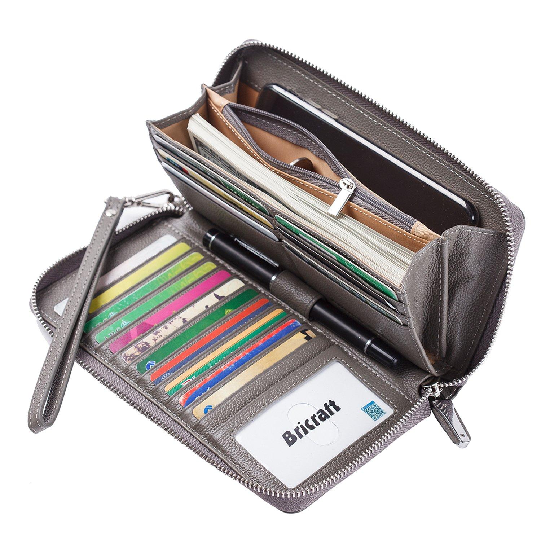 Women RFID Blocking Wallet Genuine Leather Zip Around Clutch Large Travel Purse Grey
