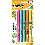 BIC Brite Liner Grip Highlighter, Assorted, Chisel Tip, 5-pack