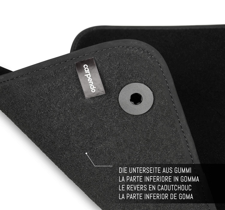 Carpendo Tapis de Sol Voiture Auto Velour Antiderapant Noir avec Systeme de Fixation Set de 4 Pi/èces