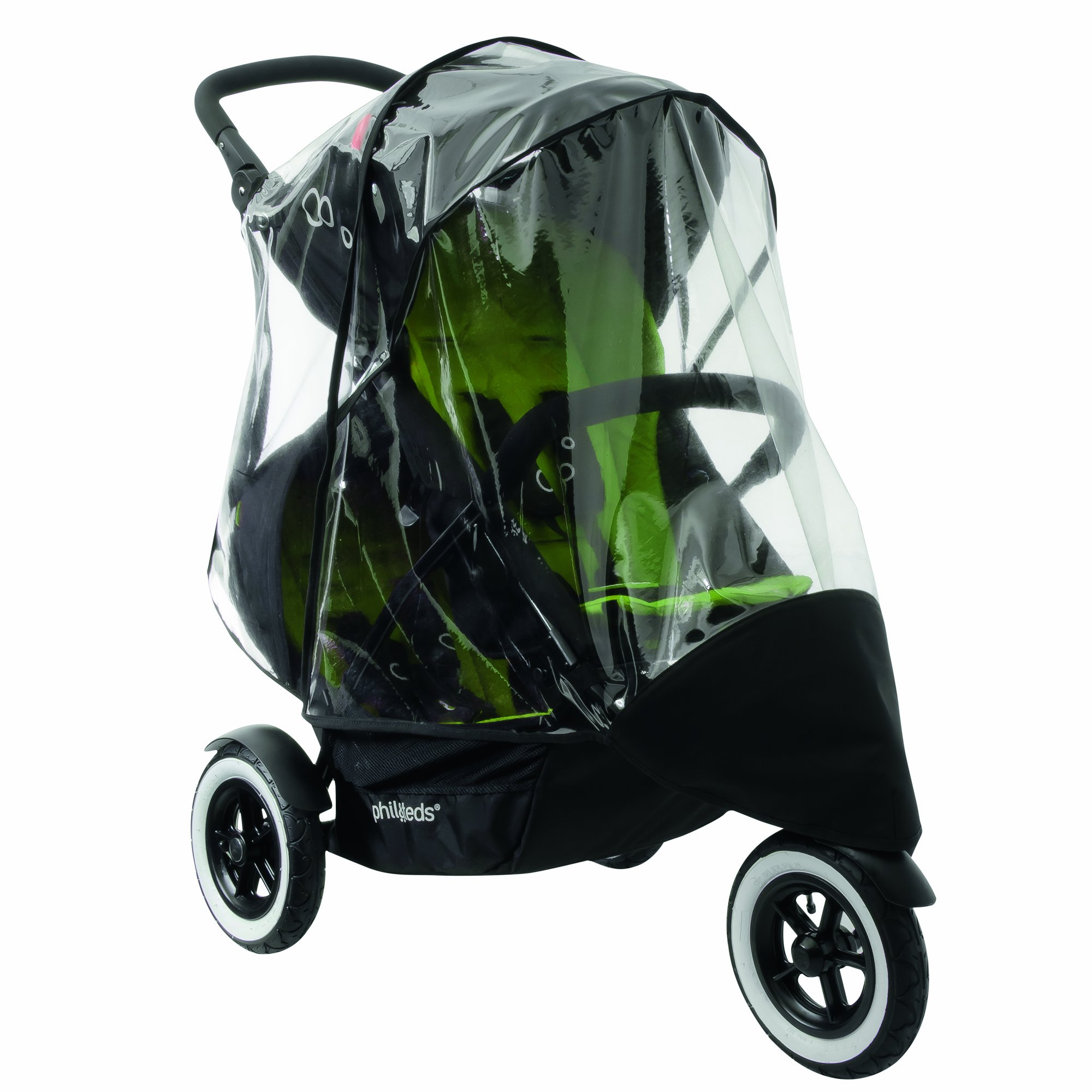 phil&teds Stormy Weather Cover for Double Dot Stroller, Clear