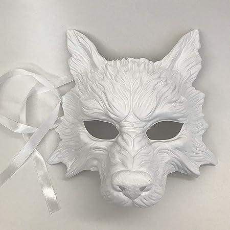 Blanco lobo máscara Animal Masquerade máscara de Halloween disfraz ...