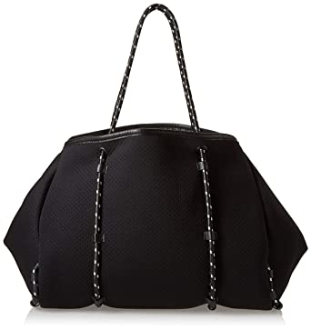 1c1cf1b70c Steve Madden Lana Lightweight Flexible Multipurpose Neoprene Tote Bag with  Bungee Straps, Black