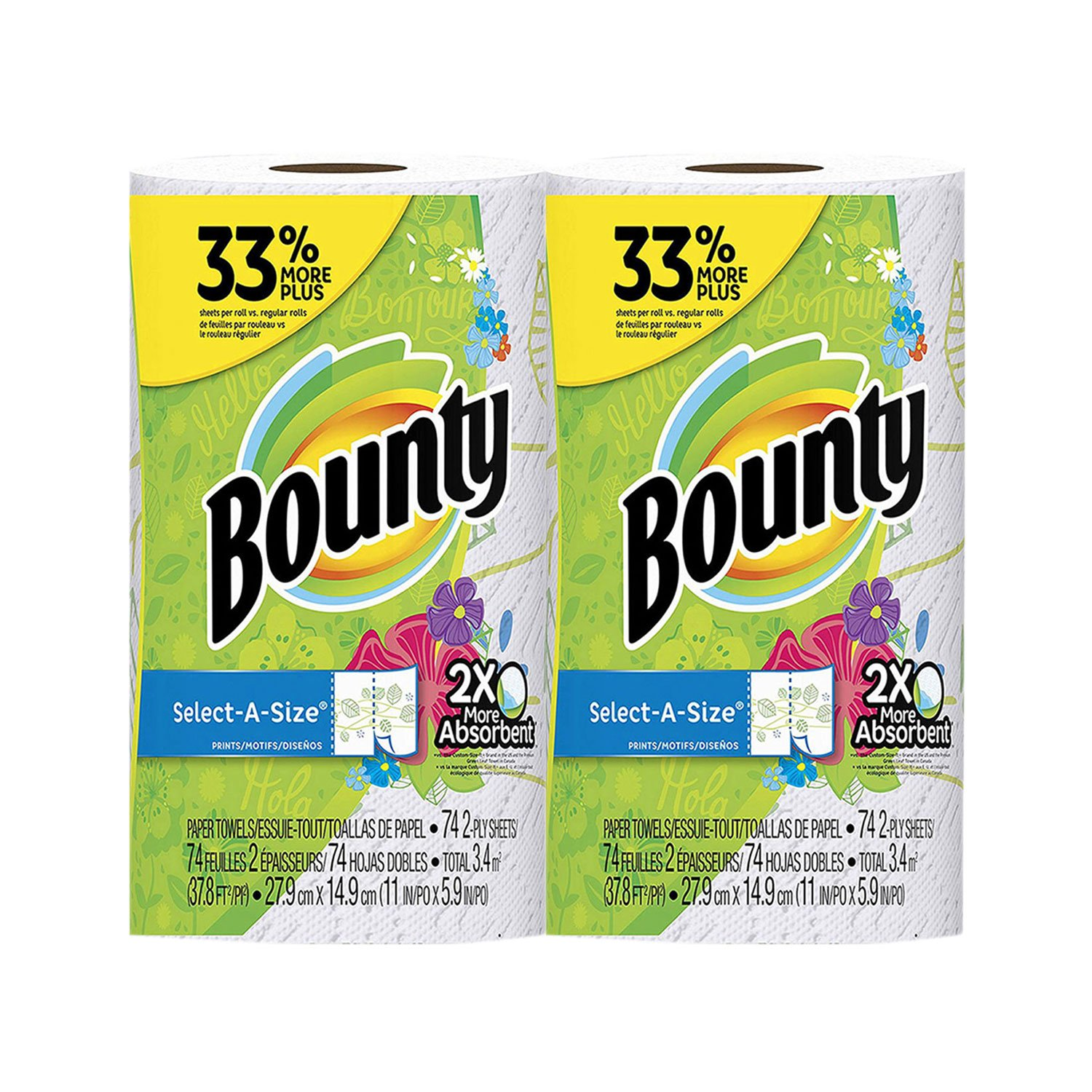 Amazon.com: Bounty Select-A-Size, 2x More Absorbent 2-ply 74 sheets Paper Towel big Roll - 2-Pack: Health & Personal Care