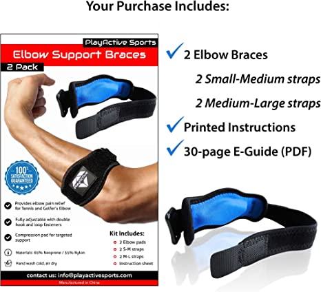 2-Pack Tennis Elbow Brace with Compression Pad by PlayActive Sports - Best Tennis & Golfers Elbow Strap Band - Relieves Tendonitis and Forearm Pain - Includes Two Elbow Support Braces and E-Guide: