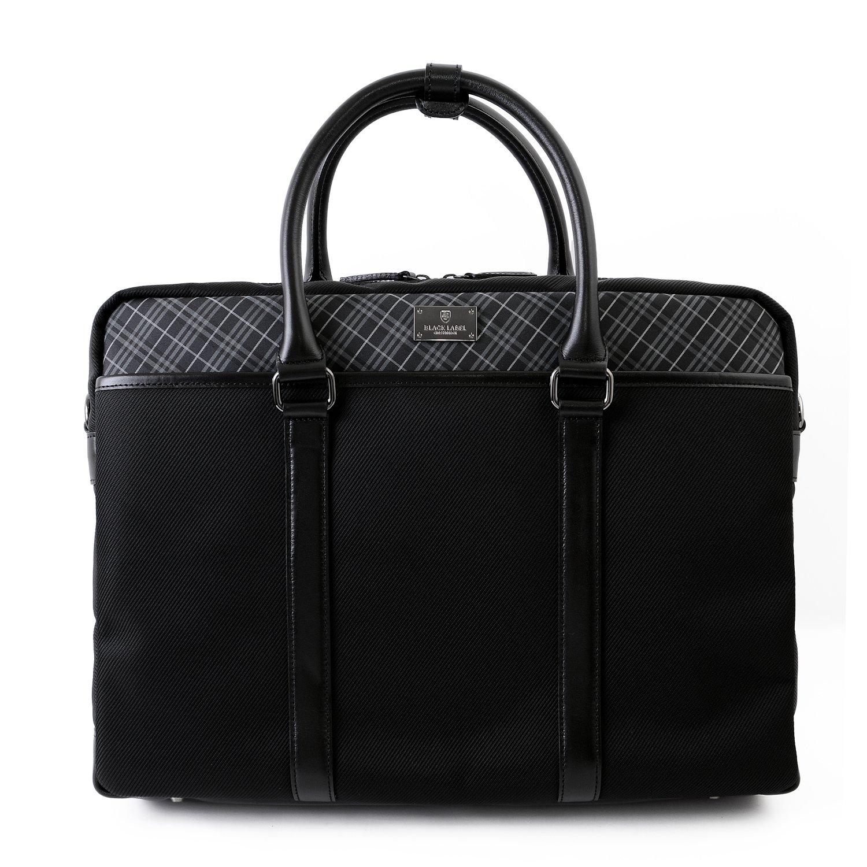 [ギフトラッピング済] (ブラックレーベル クレストブリッジ) BLACK LABEL CRESTBRIDGE 正規品 メンズ ビートチェック 2WAY ブリーフバッグ ビジネスバッグ ショルダーストラップ ショップバッグ付 B017LMM5MKブラック
