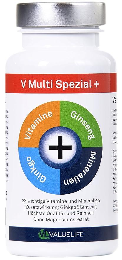 V Multi Special+: multivitamínico y multimineral + Ginkgo Biloba + Ginseng! 22 vitaminas&minerales en
