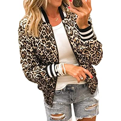 ECOWISH Women's Casual Floral Zip Up Inspired Bomber Jacket Leopard Coat Stand Collar Lightweight Short Outwear Tops: Clothing
