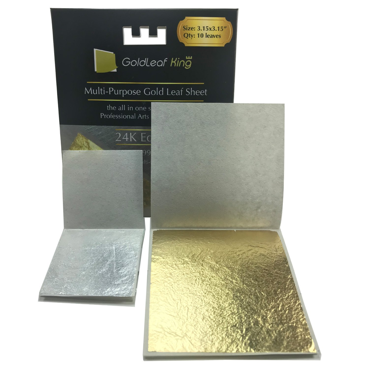 Goldleafking Large 10 x 24K Edible Gold Leaf Sheets 3.15 x 3.15 inches for Cooking, Cake & Chocolate, Arts, Food Decoration, Golden Chicken, Gilding, Multi-Purpose + Free Silver Leaf x 10