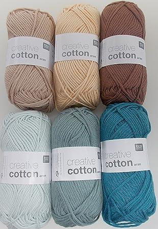 Häkelgarn Set 6x50 g Creative Cotton Aran Baumwollgarn zum Häkeln ...