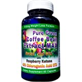 910mg Pure Green Coffee Bean Extract MAX ~ Svetol ~ GCA ~Raspberry Ketones ~ Contains up to 48% Chlorogenic Acid ~ Strongest Diet Pill