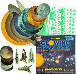 Glow in the Dark Stars and Planets for Ceiling – 303 Bright Solar System Wall Stickers, Shining Space Decals, Glowing 14 Planets 1 Moon 4 Rockets 24 Shooting Stars 260 Stars Boys Girls Room Decoration