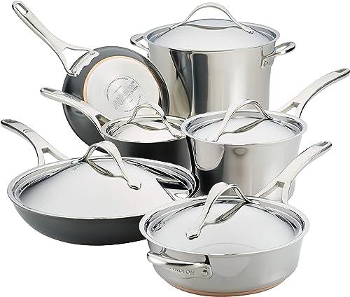 Anolon 11-Piece Steel & Hard Aluminum Cookware Set