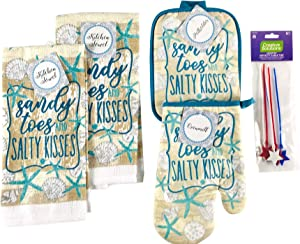 Nantucket Home Seasonal Beach Kitchen Dish Towels Pot Holder Oven Mitt Set, 4pc: Sandy Toes and Salty Kisses Distressed Ocean Theme