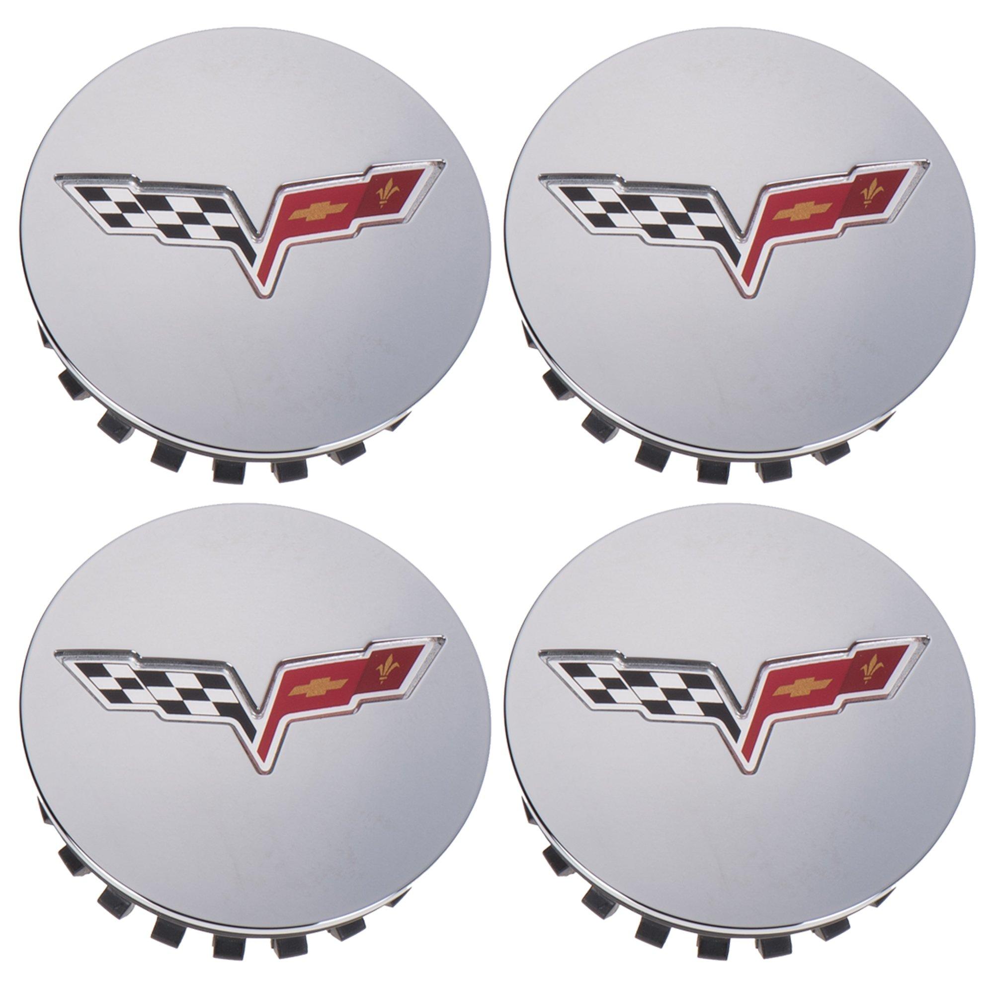OEM NEW Wheel Hub Center Cap Set of 4 Silver w/Flag Logo 08-13 Corvette 9597834