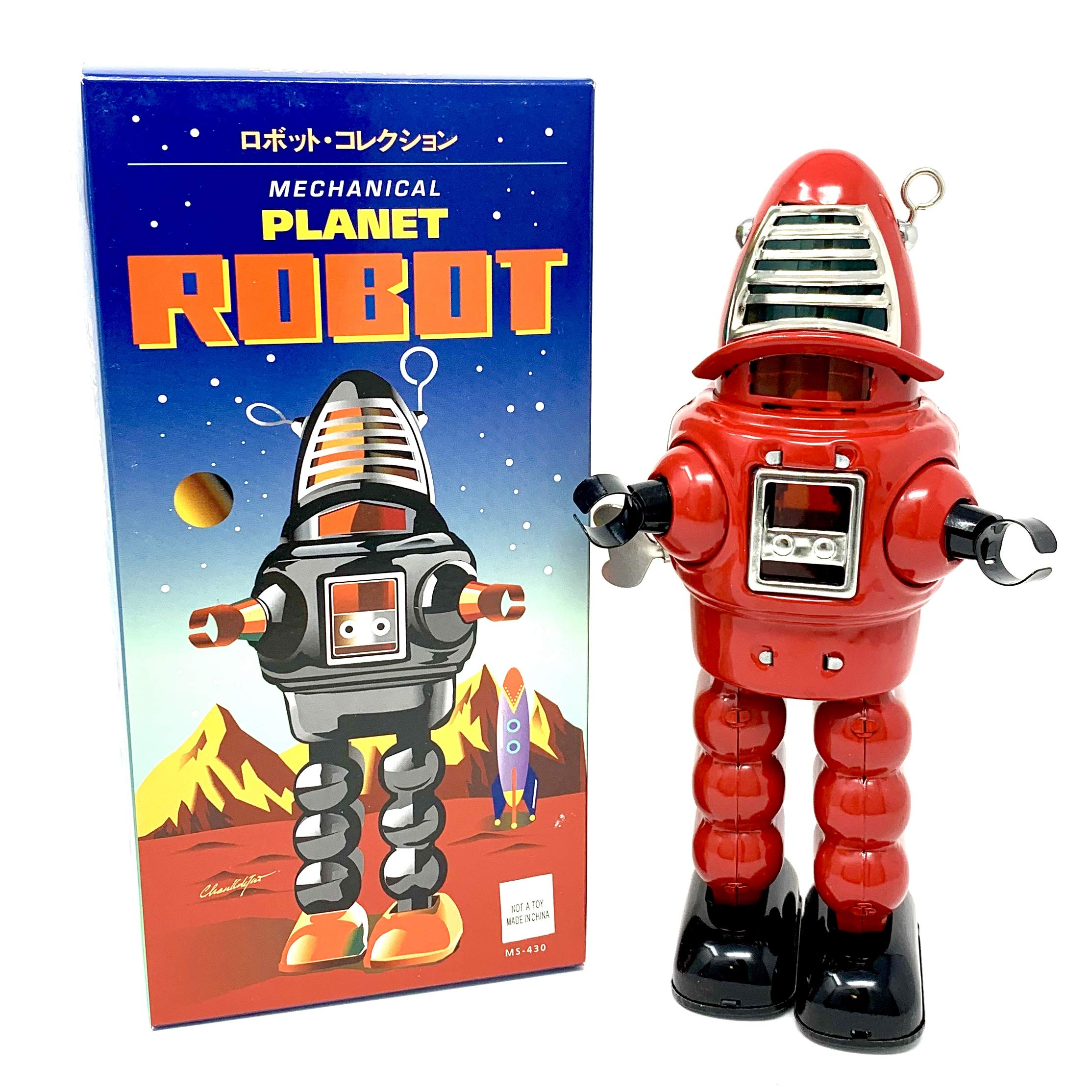 Off the Wall Toys Vintage Style Collectible Wind Up Red Planet Robot Wind Up 8.5'' MS430