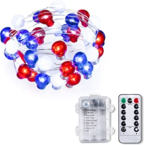 HOOJO 10FT 4th of July Decorations Bulb Shape 40 Led String Light, Patriotic Lights with 8 Modes Remote Red White and Blue String Lights for Home Decor, Memorial Day, Independence Day Decorations