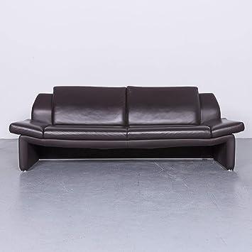 Laauser Designer Leder Sofa Braun Echtleder Dreisitzer Couch 6531