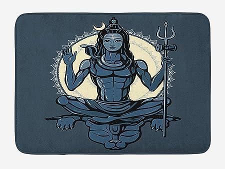 Yoga Bath Mat, Eastern Figure with Muscular Body on Yoga ...