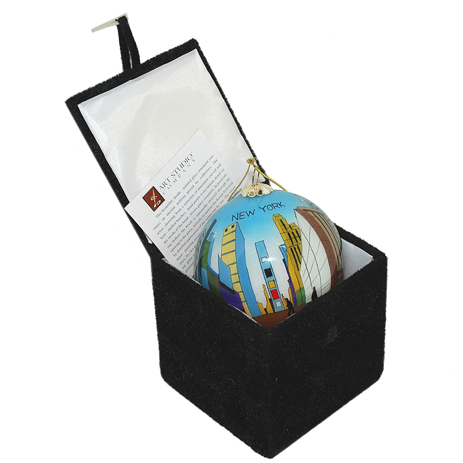 Times Square New York City Hand Painted Glass Christmas Ornament