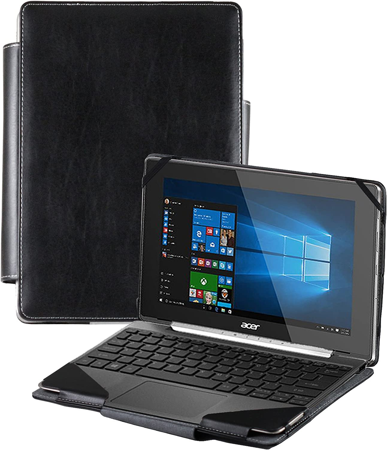 Navitech Black Faux Leather Detachable Folio Case Cover Sleeve Compatible with The Acer Switch V10