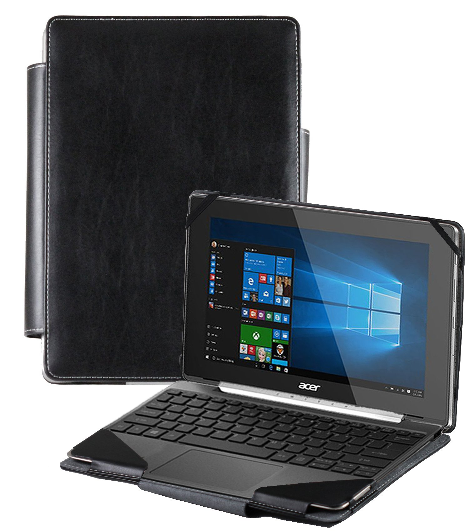Navitech Black Faux Leather Detachable Folio Case Cover Sleeve For The Acer Switch V10