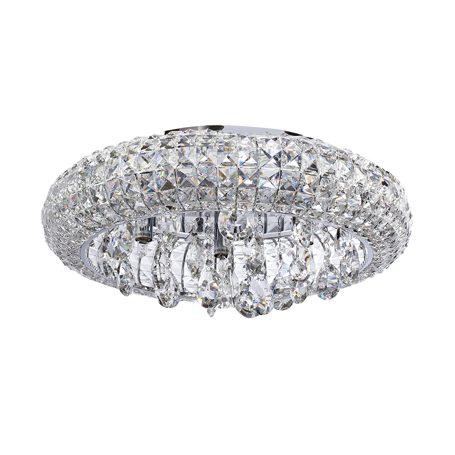 Mw light 276014207 flush ceiling light crystal low ceiling transparent chrome classic style for living room dining room bedroom g9 7 x 40w incl