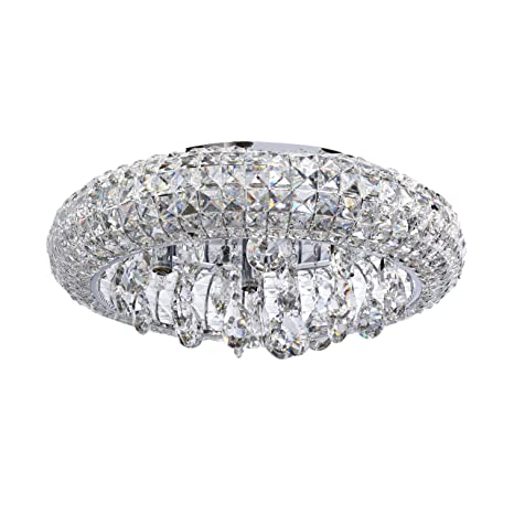 new style 7e869 e3876 MW-Light 276014207 Flush Ceiling Light Crystal Low Ceiling Transparent  Chrome Classic Style for Living Room, Dining Room, Bedroom G9 7 x 40W incl
