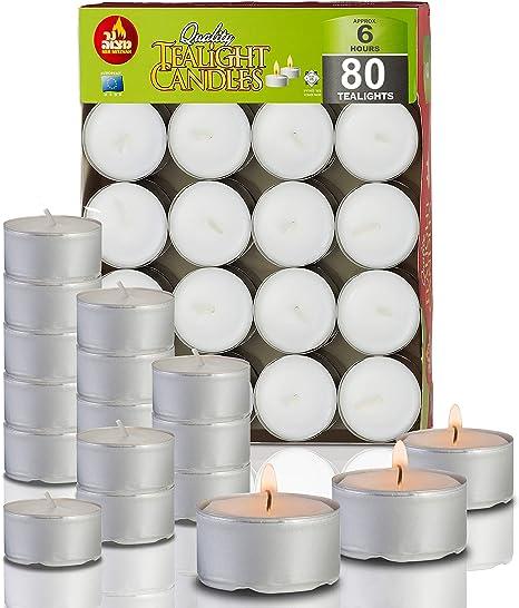 Ner Mitzvah Velas de Té Pack de 80 Velas - Velas Blancas, para Centros de Mesa y Viaje 6 Horas de Duración de Encendido - Cera Prensada: Amazon.es: Hogar