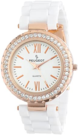 44478abb3 Amazon.com: Peugeot Women's 7067WR Rose Gold Crystal Bezel White Acrylic  Watch: Peugeot: Watches